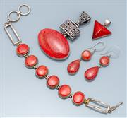 Sale 9037F - Lot 12 - FOUR ITEMS OF STERLING SILVER CORAL JEWELLERY; 2 pendants, a 26mm wide triangular coral and 45mm wide oval coral to pierced bead and...