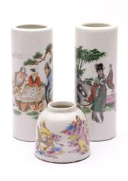 Sale 9032C - Lot 786 - Pair Of Small Famille Verte Cylindrical Vases H: 14cm, Together With A Small Brushpot H: 6cm