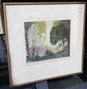 Sale 9036 - Lot 2037 - Frank Werner Dawn linocut ED. 7/50, 43 x 44 cm, signed lower right