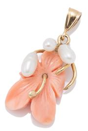 Sale 9066 - Lot 342 - A 14CT GOLD CORAL AND PEARL PENDANT; salmon coral carved as an hibiscus with cultured rice pearls, length 29mm, wt. 1.97g.