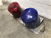 Sale 9056 - Lot 1058 - A Pair of Large Blue and Red Cased Lights