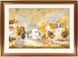 Sale 9099 - Lot 26 - Wilmotte Williams, Red Chimney pots, lower Paddington, Oil on board, Signed lower left, 50cm x 75cm
