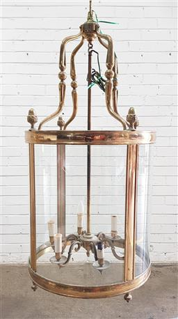Sale 9142 - Lot 1091 - Large Antique Style Brass Cylindrical Lantern, with convex glass & six arm interior (h:121 dia:55cm)