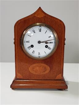 Sale 9215 - Lot 1005 - Early 20th Century German Inlaid Mahogany Mantle Clock, with two-train movement, white enamel dial & peaked clock case, marked for P...