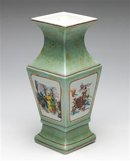 Sale 9253 - Lot 127 - A four panel green glazed Chinese vase (H:33cm)
