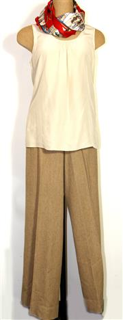 Sale 8196F - Lot 377 - RALPH LAUREN WOOL TROUSERS AND JOSEPH SILK TOP, PLUS SCARF; pants (8), top (40), and scarf with Ancient Egyptian theme.