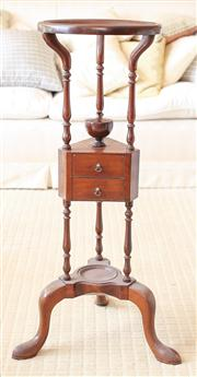 Sale 8250 - Lot 48 - A Georgian Mahogany Wig Stand ,  modelled with a central well, on triform turned supports, two short drawers, all terminating in a t...