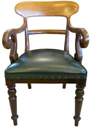 Sale 8258A - Lot 69 - Victorian oak carver chair with green leather (recent) upholstered seat, RRP $750