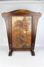 Sale 8425 - Lot 6 - Australian Arts & Crafts Pressed Timber Painted Firescreen