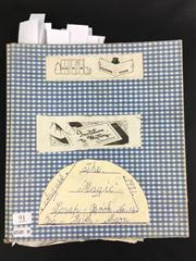 Sale 8539M - Lot 91 - Keith Absons Magic Scrapbook, book no. 14. Compiled 1981. Includes poster for Sloggetts Dolores, signed by Sloggett 1955, 95 x 3...