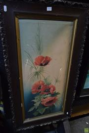Sale 8592 - Lot 2062 - Artist Unknown Poppies oil on canvas (AF), 77.5 x 34.5cm, unsigned