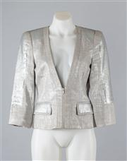 Sale 8685F - Lot 62 - A CUE metallic grey-blue cotton/linen blend jacket with sequined paneling, size 8