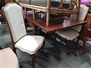 Sale 8744 - Lot 1058 - Oak 7 Piece Dining Setting with 6 Upholstered Chair and Extension Dining Table with Marquetry Top