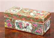Sale 8804A - Lot 62 - A late Qing famille rose rectangular box, L 18cm
