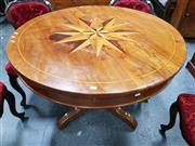 Sale 8848 - Lot 1014 - 19th Century French Walnut & Specimen Supper Table, the round top inlaid with star-burst in rosewood, walnut & probably cherrywood,...