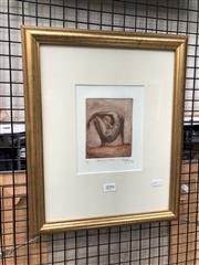 Sale 8850 - Lot 2094 - Artist Unknown - Balancing Nude 1999 etching and aquatint, ed. 3/8, 42 x 35cm (frame), signed