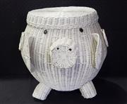 Sale 8971 - Lot 1060 - Wicker Pig Form Hamper (H:48 x W:45 x D:65cm)