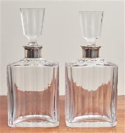 Sale 9099 - Lot 57 - A pair of decanters and stoppers; each with 925 silver mounts. Height 28cm