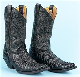 Sale 9092F - Lot 18 - A PAIR OF GRINDERS MENS COWBOY BOOTS; in black leather with crocodile print. Size 10.5