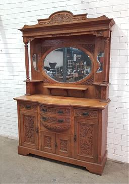 Sale 9134 - Lot 1557 - Carved mirror back sideboard with 4 doors & drawers below (h240 x w151 x d61cm)