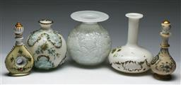 Sale 9153 - Lot 51 - A collection of hand painted milk glass bottles and small pots (H:20cm)