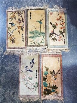 Sale 9254 - Lot 2394 - A collection of five small Chinese rugs (64cm x 31cm)