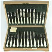 Sale 8252 - Lot 84 - Mother of Pearl Fruit Cutlery Setting for Twelve Persons
