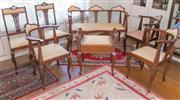 Sale 8368A - Lot 83 - An Edwardian maple salon suite comprising; three seater settee in yellow and three corner armchairs 1 x pink and 2 x yellow floral u...