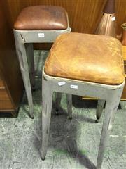 Sale 8643 - Lot 1096 - Pair of Industrial Leather Top Stools