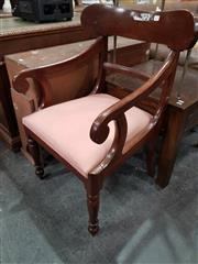 Sale 8744 - Lot 1094 - Victorian Mahogany Armchair, with scrolled arms, drop-in seat & turned legs