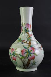 Sale 8835 - Lot 265 - Chinese Famile Rose Vase Featuring Bats And Peaches, Marked To Base H: 24cm
