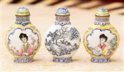 Sale 8882H - Lot 84 - Three Chinese enamelled snuff bottles two with panels of ladies, the other landscape , Height 7cm
