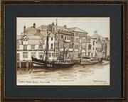 Sale 8932 - Lot 2087 - Daphne Roscoe - Custom House Quay, Weymouth 1977 watercolour, 18 x 24cm, signed and dated -
