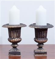 Sale 9005H - Lot 75 - A pair of heavy bronze campagna urns of diminutive size, Height 14cm