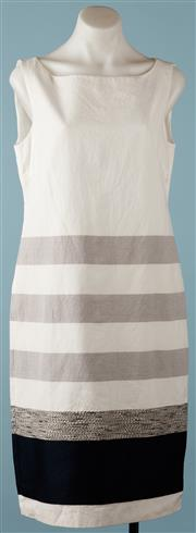 Sale 9090F - Lot 120 - A MAX MARA SLEEVELESS SHIFT; white cotton fabric with grey, black and textured horizontal stripes, fully lined, size US12 GB 14 FR 44,