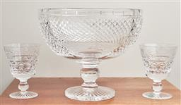 Sale 9099 - Lot 75 - A Stuart cut crystal punch bowl, Height 21.5cm x Diameter 25cm, together with a pair of Stuart cut crystal goblets. Height 12.5cm, a...