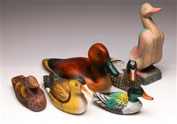 Sale 9107 - Lot 63 - A collection of handpainted timber ducks (largest length 36cm)