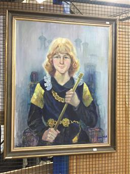 Sale 9135 - Lot 2080 - Joan Dent Hugh Monroe (Prince of the Tower from Richard III) oil on canvas on board, frame: 101 x 80 cm, signed lower right, label...