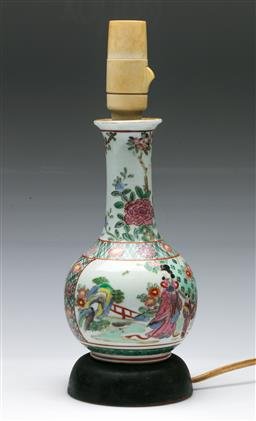 Sale 9156 - Lot 236 - An early Chinese ceramic vase converted to table lamp (H:33cm)