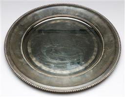 Sale 9175 - Lot 203 - A Silver (800) Salver With Beaded Trimming (Dia 32cm) (wt 609 grams)