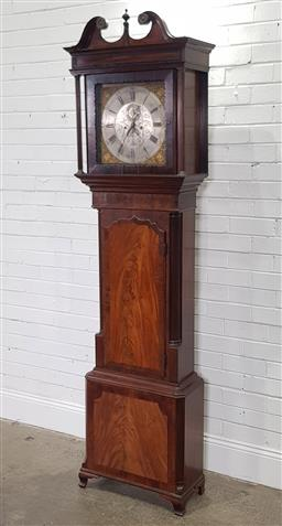 Sale 9196 - Lot 1078 - George III Mahogany Longcase Clock, with unsigned two train movement, the square silvered dial with subsidiary seconds & date, havin...