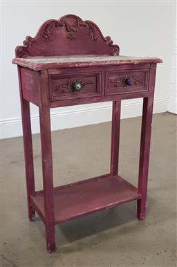 Sale 9210 - Lot 1086 - Painted 2 drawer hall table (h:104,5 w:60 d:34cm)