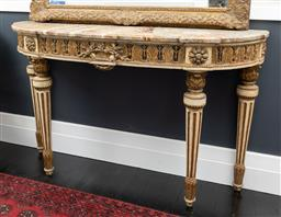 Sale 9248H - Lot 96 - A Late 18th century French marble top console Height 75cm Width 138cm Depth 40cm