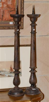 Sale 8171A - Lot 22 - A pair of antique French carved timber prickets, H 78cm