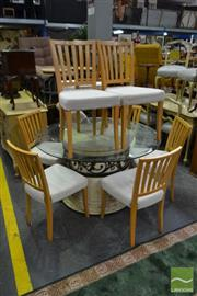 Sale 8499 - Lot 1368 - Round Glass Top Table and 8 Chairs