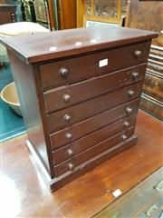 Sale 8728 - Lot 1052 - Victorian Mahogany Specimen Chest of Six Drawers, with makers paper label for James Gardner...Manufacturer of Entomological....Cab...