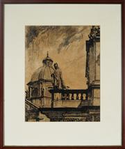 Sale 8969 - Lot 2031 - Artist Unknown Pope Addresses Audiencedrypoint etching, ed. 6/150, signed lower right -