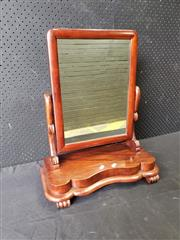 Sale 9048 - Lot 1082 - Victorian Mahogany Toilet Mirror, with shaped supports & base (h:45 x w:55cm)