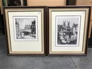 Sale 9045 - Lot 2080 - Pair of Lionel Lindsay Facsimile etchings of Argyle Cut and St Andrews Tower, Sydney -