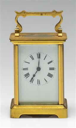 Sale 9211 - Lot 40 - A Brass French Carriage Clock (H:12cm)